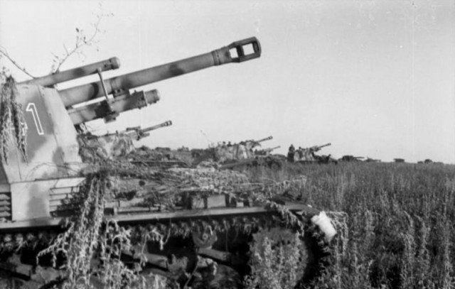 Cerca de Pokrovka, un grupo de obuses de campo ligero montado en el chasis Panzer Mk II, conocido como Wespe o Sd.Kfz. 124 en un campo cerca de la línea del frente