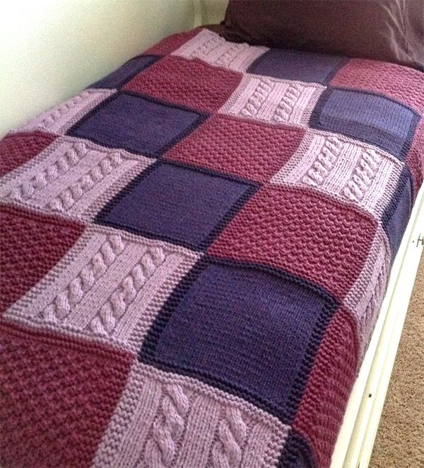 Knitting Pattern for Easy Patchwork Trio Afghan - Easy afghan with a checkerboard of stockinette, seed and cable blocks. Pictured project by knitsinNC