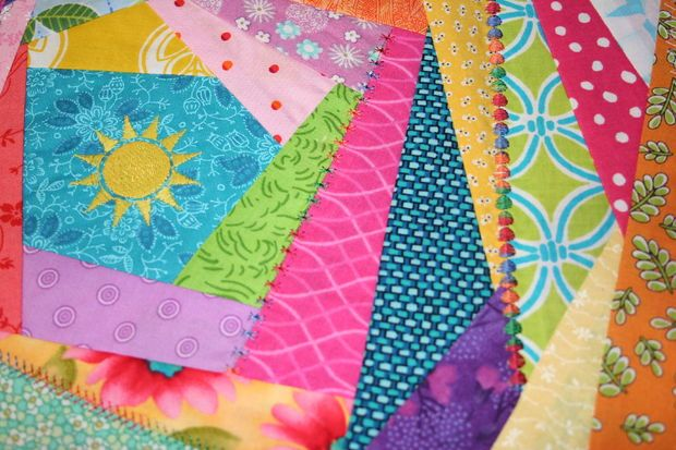 How to sew an easy Crazy Quilt block... step by step tutorial. Use scraps of fabric and embroider to finish it off ~ Instructables