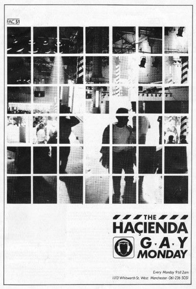 Manchester District Music Archive - advert, The Hacienda - 1985  Design by Glenn Routledge