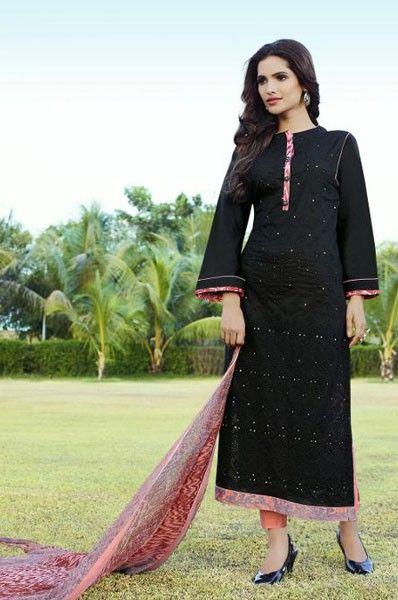 Party Wear Black Cotton Mirror Work Salwar Kameez