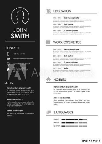 minimalistic personal vector resume