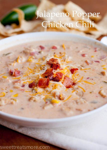 Jalapeño Popper Chicken Chili. OMG this recipe is probably my favorite thing to make in the crockpot. I used my slow cooker, and added in some Serrano peppers along with the jalapenos. I used 1/3 less fat cream cheese to cut back on some of the calories. DELICIOUS PEOPLE!