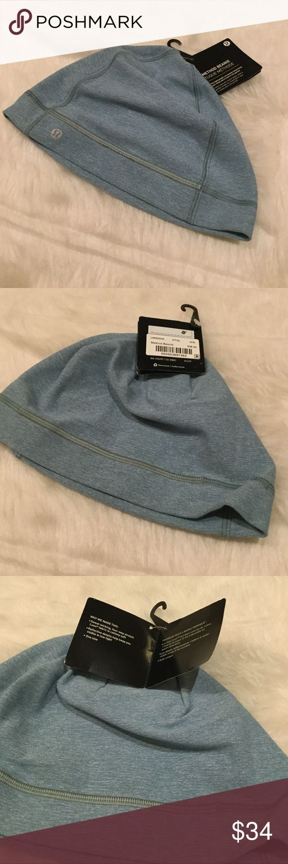 NWT Lululemon Method Beanie This beanie is great for lightweight warmth.  Stretchy, naturally breathable Rulu fabric is sweat-wicking and buttery soft.  Reflective detail helps keep you visible in low light.  Color: Heathered Glass.  Stock photos are to show fit--do not have the hat in grey. lululemon athletica Accessories Hats