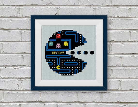 PacMan Video Game Cross Stitch Pattern Vintage Pac by StitchLine