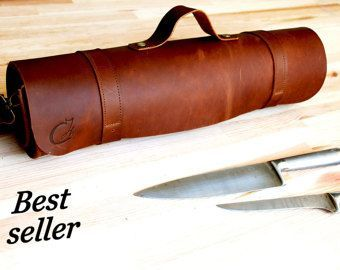 Personalized Dark Brown Leather Knife Roll Chef Leather