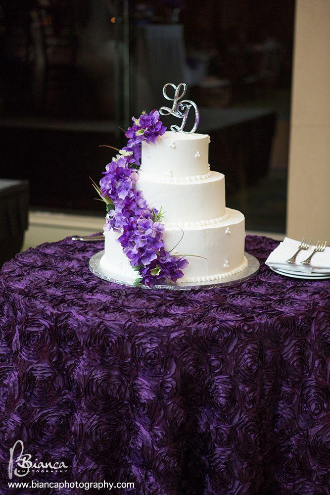 Purple Florette Round Table Linen is available at Kono's for Kono's clients
