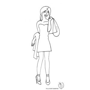 Disegno di Donna e Shopping da colorare