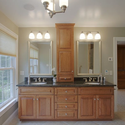 Best Master Bathroom Center Cabinets Images On Pinterest - Double sink vanity with center cabinet