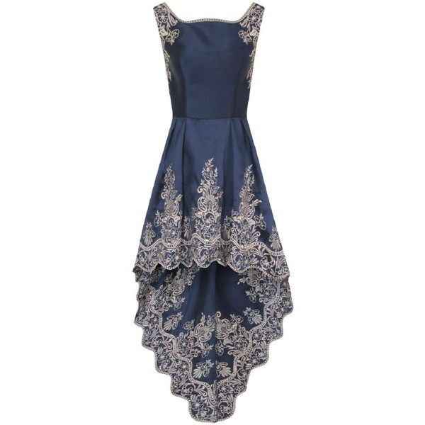 **Chi Chi London Embroidered dip hem dress ($135) ❤ liked on Polyvore featuring dresses, blue, broderie dress, high low dresses, blue embroidered dress, embroidered dress and hi lo dresses