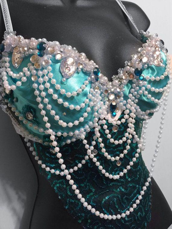 Aqua Mermaid Goddess Bra rave rave bra door RichMahoganyLife