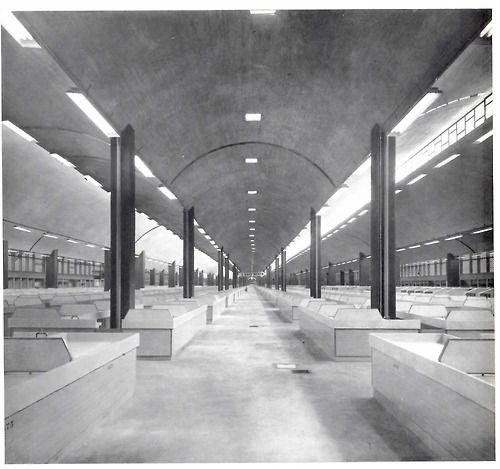 La Merced, Mercado, México DF 1957    Vista interior de la nave principal    Arquitecto: Enrique del Moral -     View of the Main Hall interior.