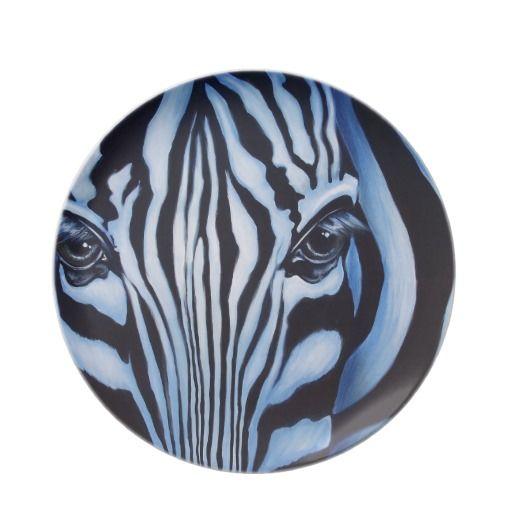 Zebra Designer Wildlife Dinner Plates $29.95 each #zebra #kitchen