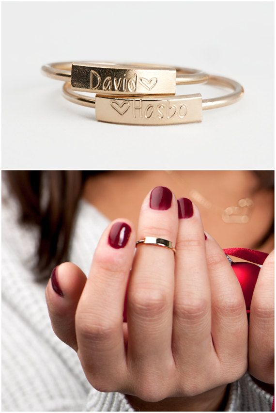 Personalized Ring Custom Name Ring Dainty Bar by BlushesAndGold