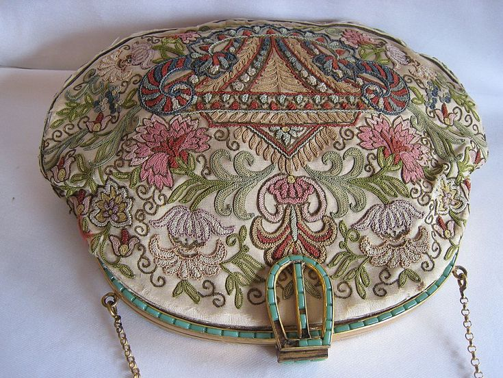 Vintage 1920s Art Deco Evening Purse Exquisite Embroidery Tambour from escapetoelegance on Ruby Lane