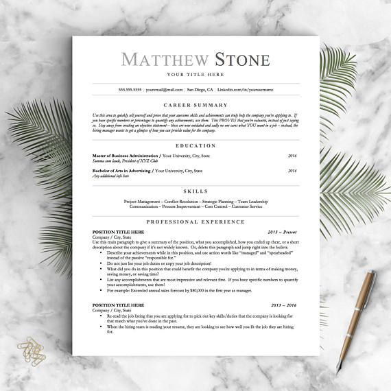 Professional Resume Template for Word, Pages and OpenOffice: The Stone Introducing the Back to Basics collection: my easiest to use templates yet based on my most popular designs. Utilizing an easy-to-use format that even the computer illiterate can handle! __________________ FEATURES: - No text boxes - just type and edit like you would any normal Word document - No additional font downloads - uses common system fonts - Add as many pages as you need to! Just continue typing and it will au...