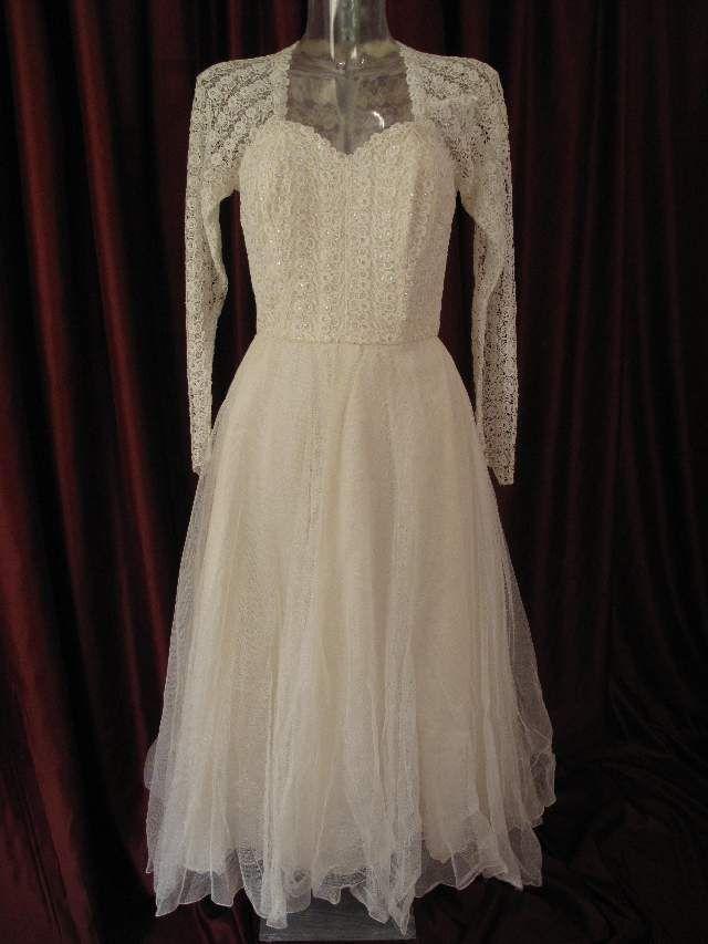 vintage 50's lace tea length wedding dress  $788.58: Wedding Dressses, Vintage Weddings, Vintage Dresses, Vintage Wedding Gowns, Dresses Ideas, Vintage Wedding Dresses, 1950S Vintage, 1950S Ballerinas, Dresses 775 27