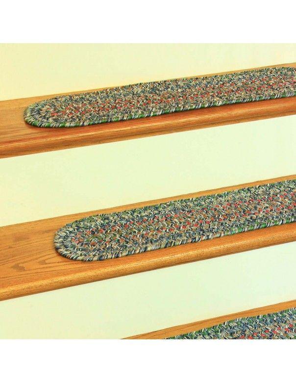Braided Denim Stair Treads (8in. X 28in. Set of 13) Sophia SO95 by Rhody Rugs - $122.85
