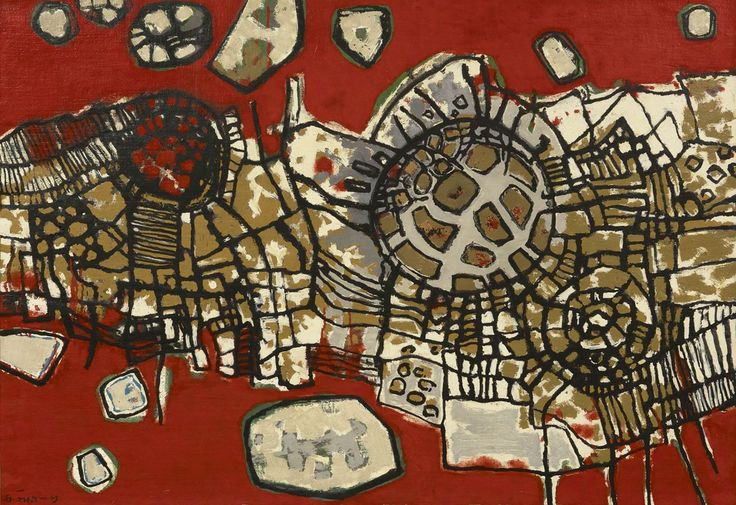 Corneille ('Corneille' Guillaume Beverloo) (1922-2010) Les rochers rouges, oil on canvas 65.0 x 92.0 cm, signed u.r. and dated '55 6186837 Cnsg. Collection Simonis & Buunk, The Netherlands