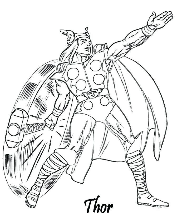 Coloriage A Imprimer Avengers Thor Et Son Marteau Gratuit Et