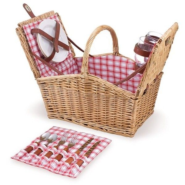Picnic Time 'Piccadilly' Wicker Picnic Basket (290 BRL) ❤ liked on Polyvore featuring home, kitchen & dining, food storage containers, red, picnic time picnic basket, picnic hamper, woven picnic basket, lidded wicker baskets and red baskets