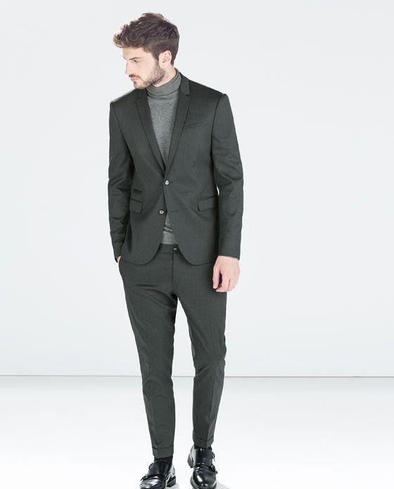 Grey thin striped suit (Zara, Aug 14)