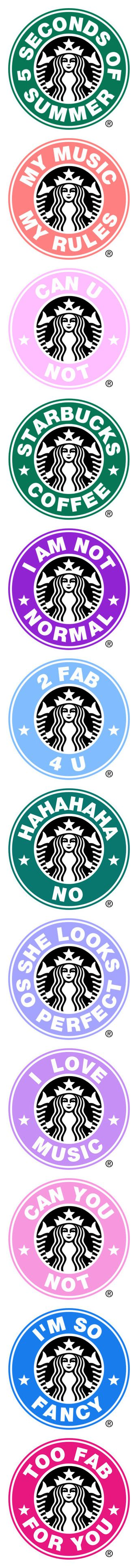 """""""Starbucks Logos"""" by enchantedbrunette ❤ liked on Polyvore featuring starbucks, logos, starbuckslogos, 5sos, fillers, starbucks logo, 5 seconds of summer, backgrounds, circle and circular"""