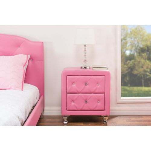 Medium Caressa Crystal Tufted Modern Nightstand Plans in Pink with Leather, Baxton Studio