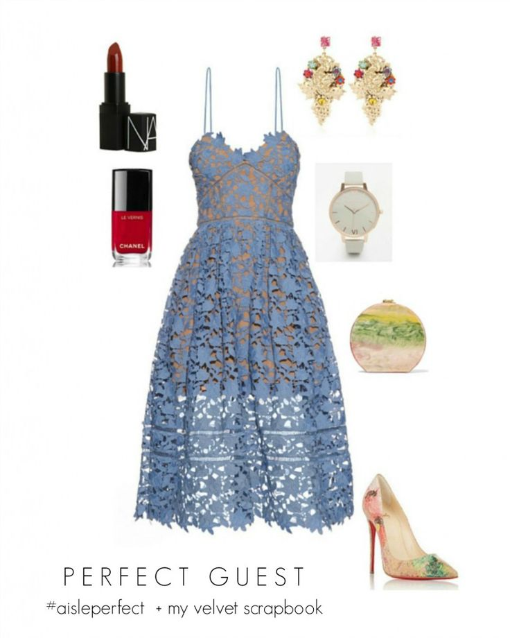 easter inspired blue wedding guest outfit