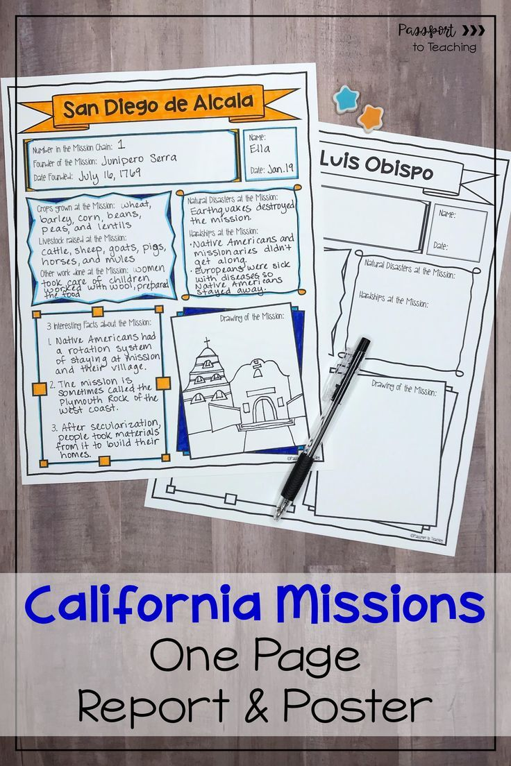 California Missions One Page Report Poster in 2020   Upper elementary  resources [ 1104 x 736 Pixel ]