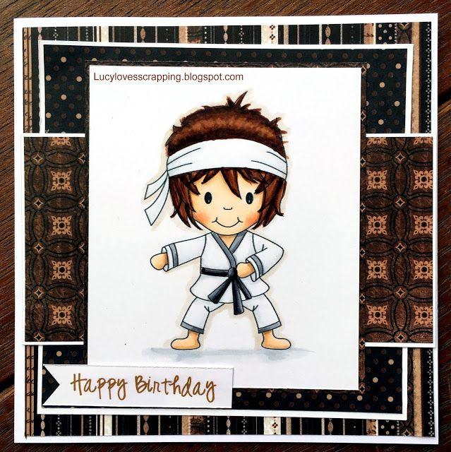 Karate boy Birthday card (Digital Delights image)