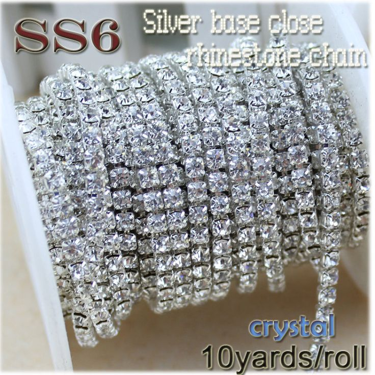 """עסקות חדשות 10 חצרות/רול נקה קריסטל SS6-SS12 (2 מ""""מ-3 מ""""מ) בסיס כסף תפירת הלבשה שרשרת יהלומים מלאכותיים אביזרי יופי diy סגנון"""