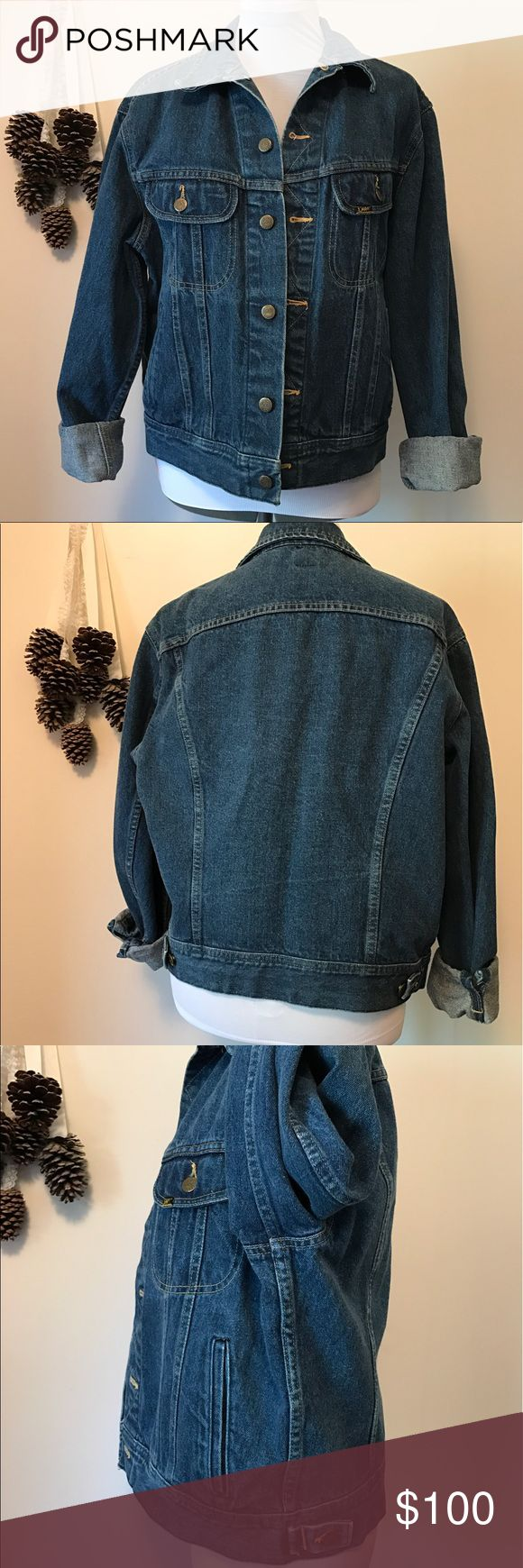 """Vintage Lee Jean Jacket Condition - awesome vintage shape, 9/10, normal wear but no flaws. 1st photo from Pinterest, similar but not the same. JJ51617M  Color - medium to dark wash  Measurements -  Underarm to underarm - 20.5"""" Shoulder to hem - 22"""" Underarm to end of sleeve - 20""""  Material - see photo tag Lee Jackets & Coats Jean Jackets"""