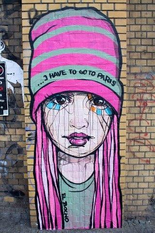 """El Bocho """"I have to go to Paris"""" - Berlin - Murals, Studio Art, Street Art, Graffiti Art, Characters"""