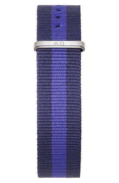 Women's Daniel Wellington 'Classic Swansea' 18mm NATO Watch Strap - Blue/ Navy/ Silver