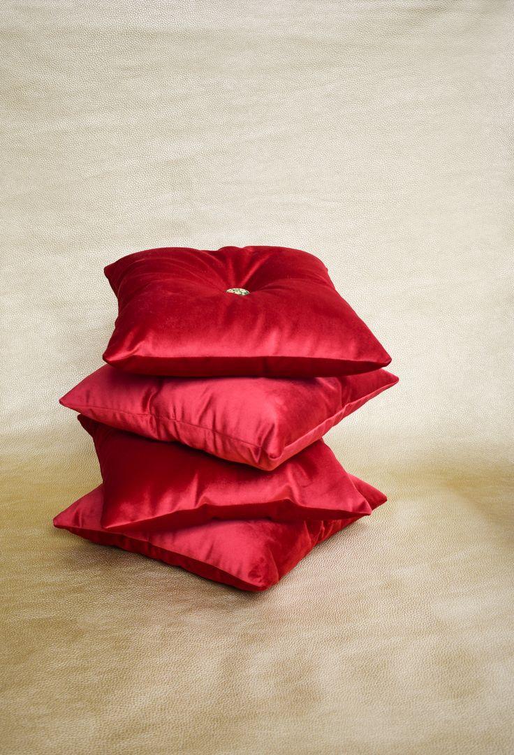 Cojines terciopelo rojo Maranta