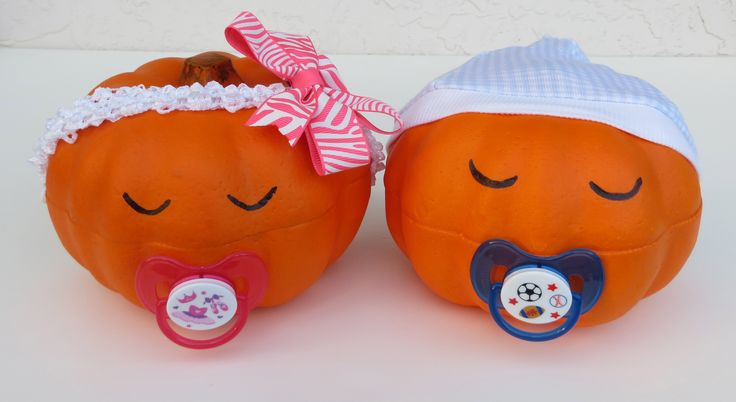 Pumpkin Baby ~ Babies made from Dollar Store pumpkins. ~ October Baby Shower Idea