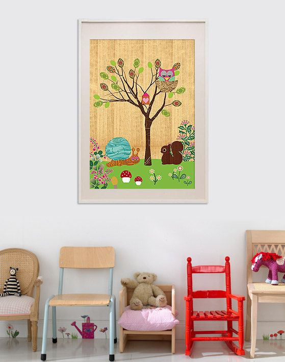 Kids room. NEW A3 Size: Cute Snail, Squirrel and pink Owl collage poster print on wooden background. $25.00, via Etsy.Art Illustrations, Posters Prints, Kids Chairs, Owls Collage, Kids Room, Backgrounds, Pink Owls, Collage Posters, Poster Prints