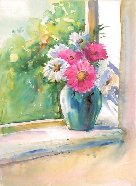 Цветы в вазе рисунок акварелью для начинающих
