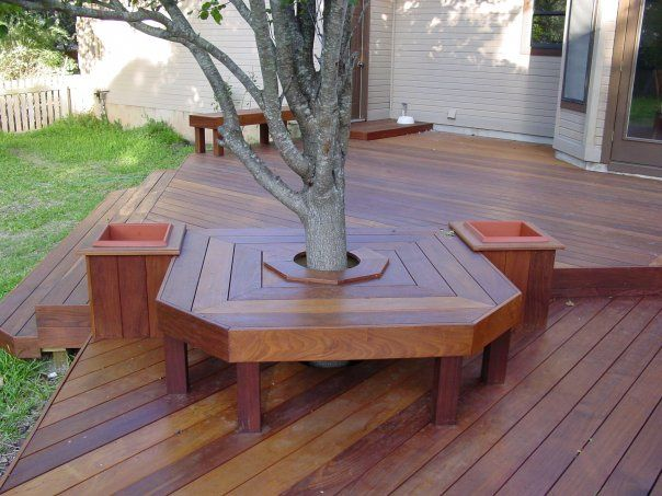 Austin Seating Bench Around Integrated Tree Architecture