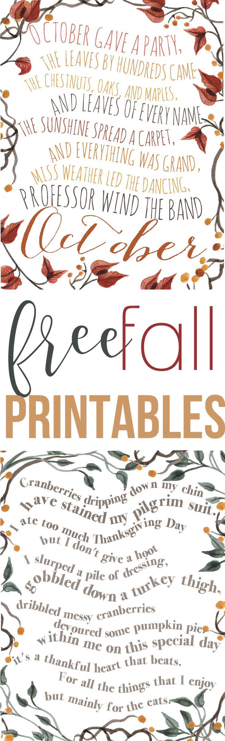 Free Fall Printables- Thanksgiving Poems — The Mountain View Cottage