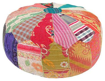 Kantha Handstitched Pouf, Patriot - eclectic - ottomans and cubes - - by One Kings Lane
