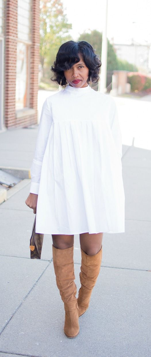 White shirt dress, Denim Cape, Denim Jacket, OTK boots, Indianapolis Style Blog, Fall Outfit Idea