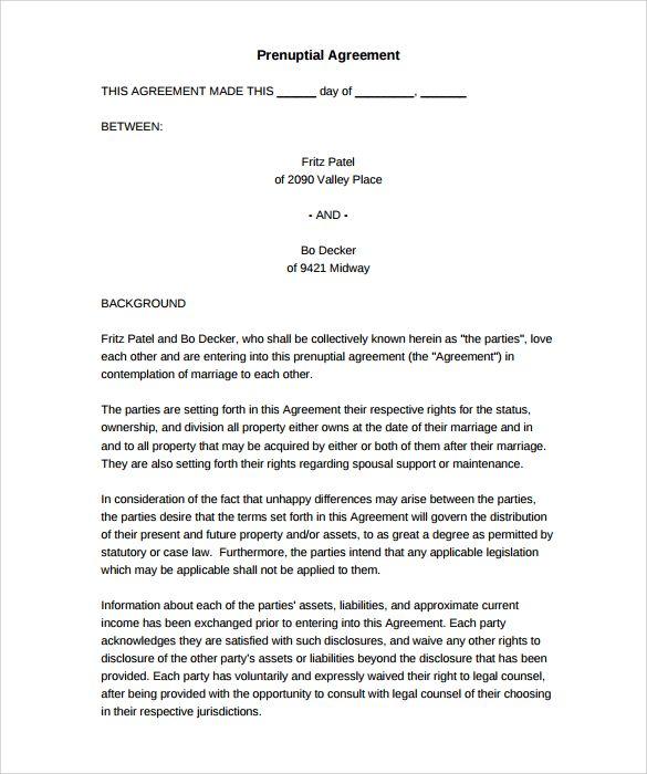 Free Printable Prenuptial Agreement Form - free printable prenuptial