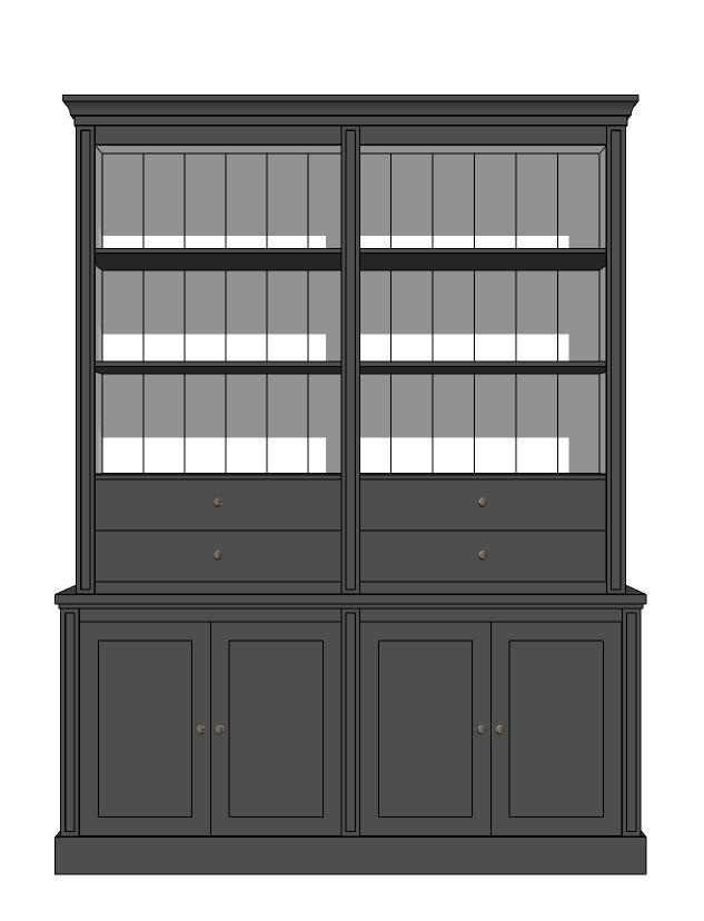 Maatwerk boekenkast met lades afmeting H 240 cm x B 200 cm x D 40 cm - Inndoors Meubelen en Interieur