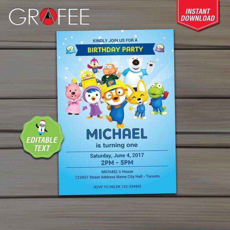 Pororo Invitation Birthday Party - EDITABLE  Text - Instant Download - Pororo Printable Invitation Card - Cute Penguin Invite by GrafeePrintables on Etsy