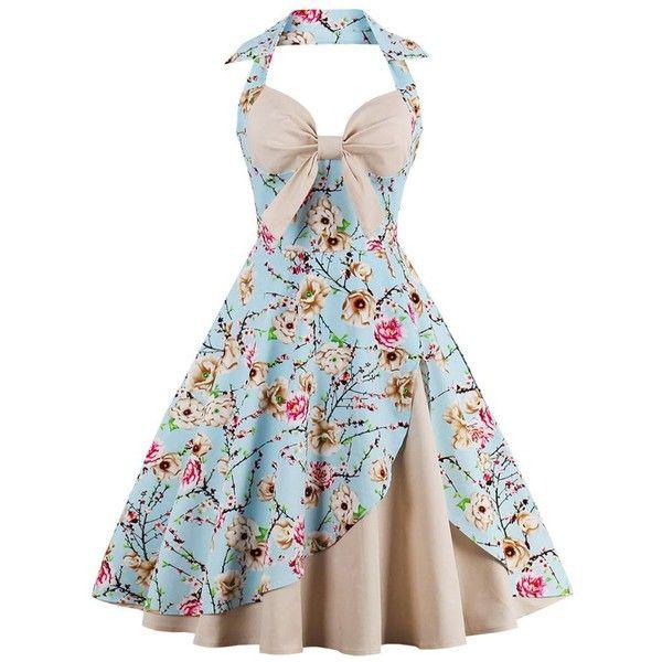 Halter Neck Floral Pin Up A Line Dress (68 BRL) ❤ liked on Polyvore featuring dresses, rosegal, a line halter dress, flower printed dress, halter tops, pinup dresses and halter dress