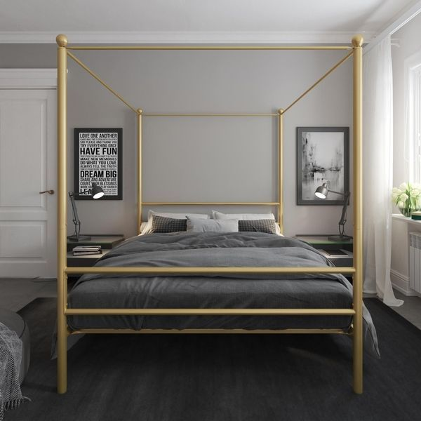 Avenue Greene Knox Metal Canopy Bed Twin Gold Metal Canopy