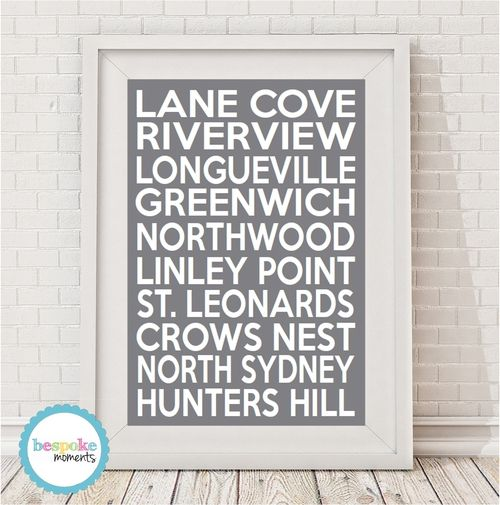 Lane Cove Locale Bus Scroll Print by Bespoke Moments. Worldwide Shipping Available.