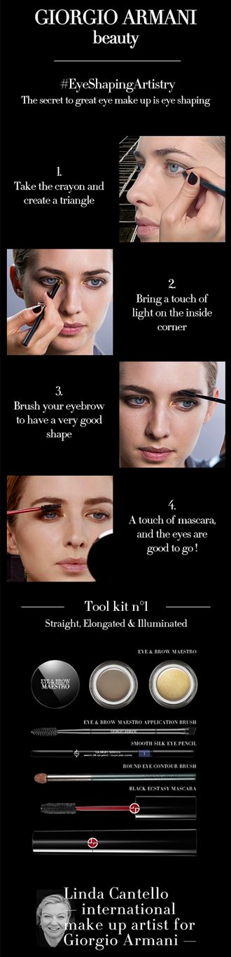 Armani Artistry Tutorial 1/15: Eye Shaping. Learn the secret to great eye makeup with Linda Cantello, International make-up artist for Giorgio Armani: the eye shaping artistry.